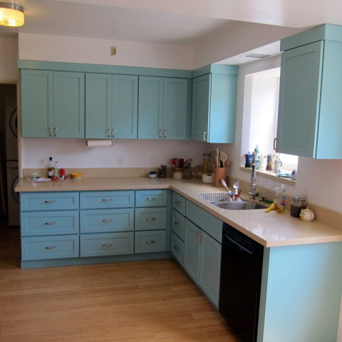 New cabinets, sink, dishwasher, floor, etc.