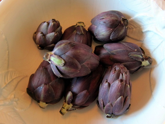 The artichokes here are purple but the taste is about the same