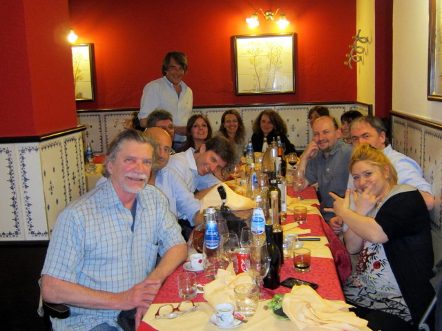 The dinner. Front right is the crazy waitress and Carlo il texano is standing.