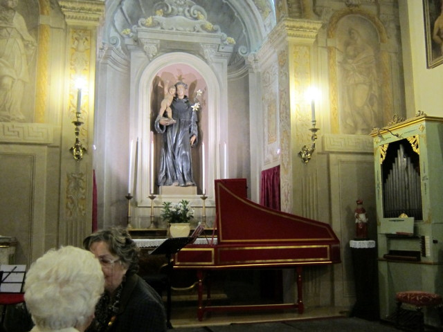 The front of the church with harpsichord