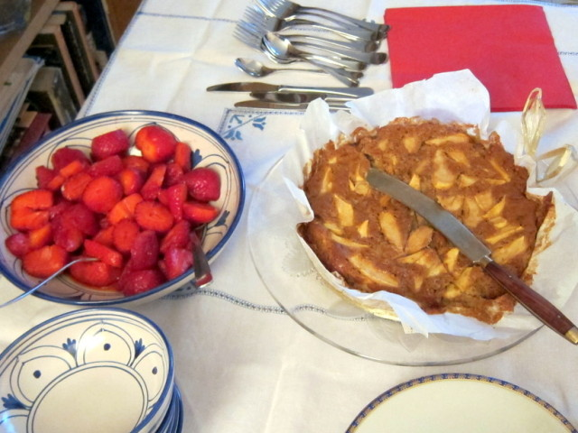 Deserts - an apple torta (I think that's the right term) and those great Italian strawberries