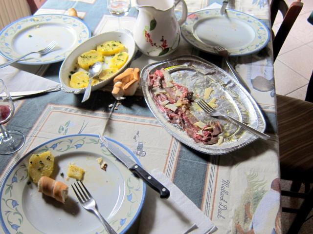 The beef carpaccio and potatos  for antipasto