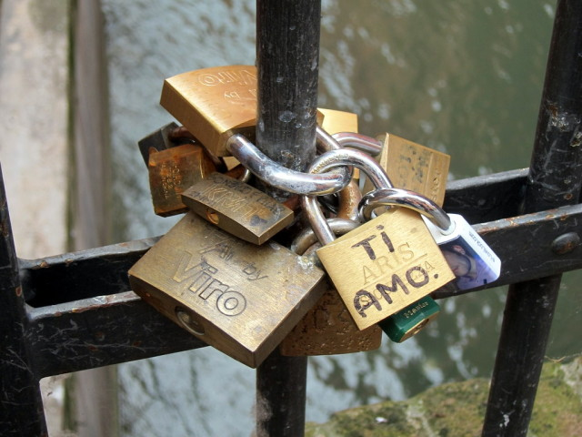 Bicycle locks, one with a special message