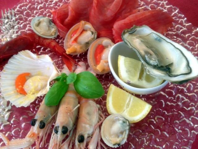 The raw fish and shellfish