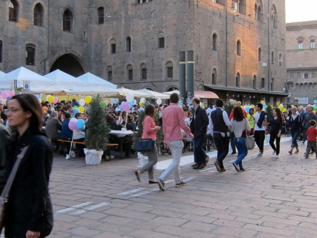 As a part of the start of summer festival there was expanded dining into the main street in the center.