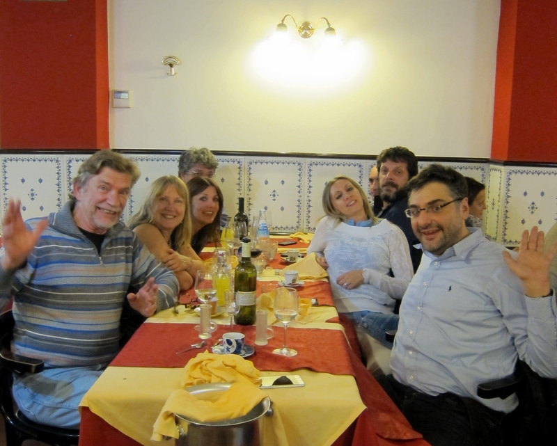 Left to right - me, Karen, Barbara, Vittorio (barely visible), Carlo (ditto), Davide, Paola and Cesare. There was an entire other table as well!