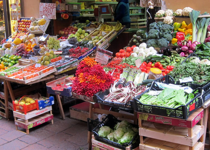 Vivid display of fruits and vegetables in the center of town