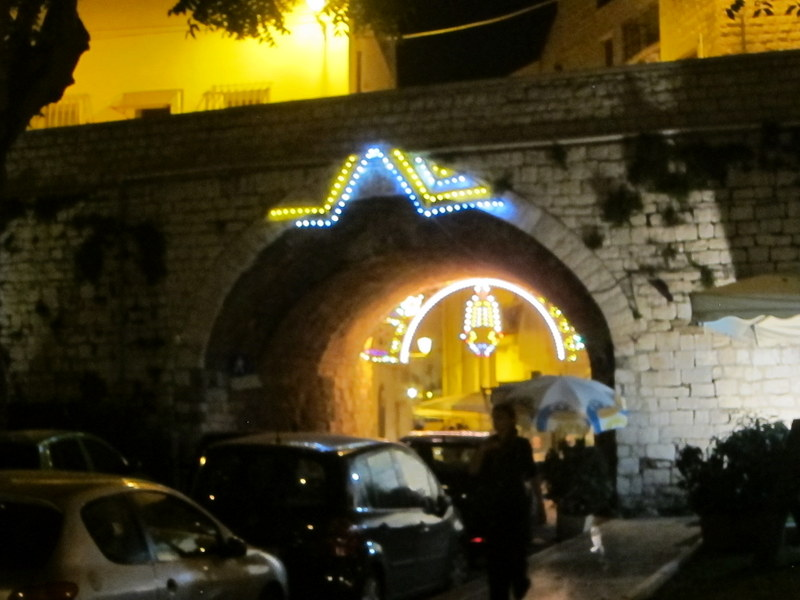 Lights at a porta of the old  city - nice landmark for returning to the restaurant