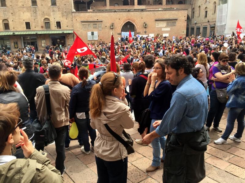 Demonstration in Piazza Nettuno and Piazza Maggiore