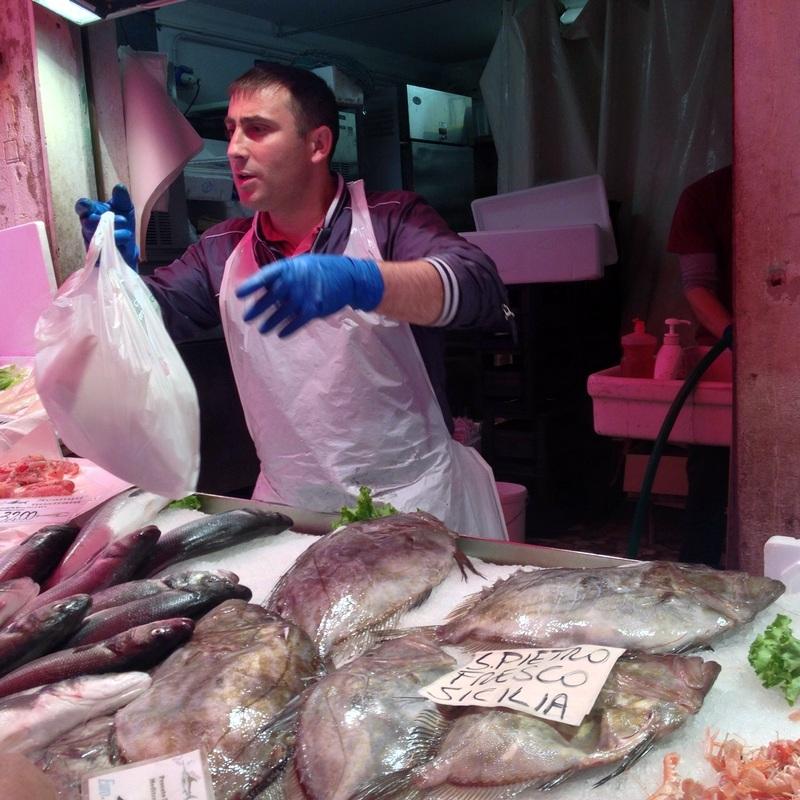 Fish monger at the Rialto market