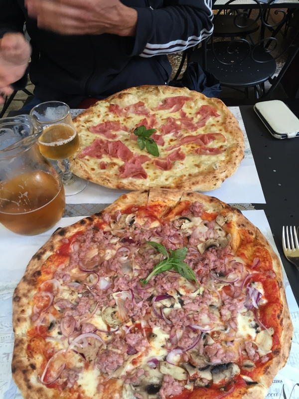 The pizzas at Spacca Napoli - terrific and BIG