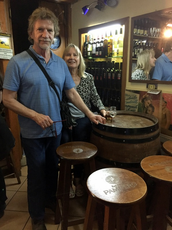 Grappa for me, cuban rum for Karen