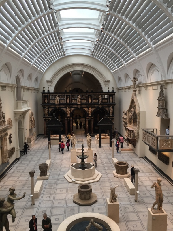 A large airy hall of sculpture at the V and A museum